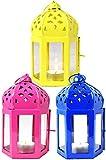 MAADES Orientalische Laternen 3 Set Laterne Dardak bunt 16cm| Orientalisches Windlicht aus Metall & Glas in 3 Farben | Marokkanische Glaslaterne, draußen als Gartenlaterne, Innen als Tischlaterne
