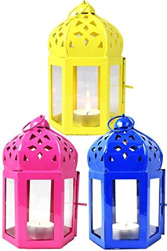 MAADES Orientalische Laternen 3 Set Laterne Dardak bunt 16cm  Orientalisches Windlicht aus Metall & Glas in 3 Farben   Marokkanische Glaslaterne, draußen als Gartenlaterne, Innen als Tischlaterne -