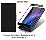 Goelectro Redmi 4 Flip Cover - For Luxury Mercury Diary Wallet Style Black Flip Cover Case for (Redmi 4 - May 2017 Launch) Redmi 4 Flip Cover + Premium 2.5D Curved 9H Hardness Tempered Glass screen protector (Black-Black)