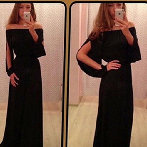 Yinew Damen Kleid Kragen Offene Gabel Ärmeln Langen Ärmeln Chiffon Kleid SexyTrägerlosen Langen Kleid Rock -