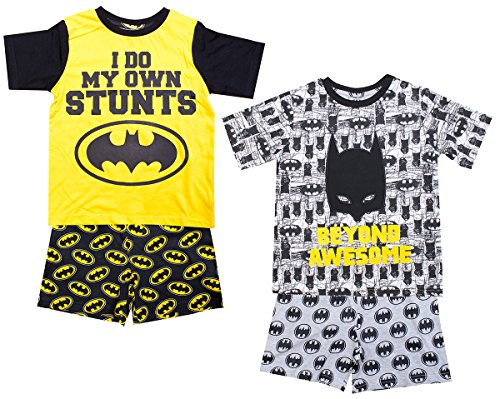 Get Wivvit Boys Pack Of 2 Official Batman Awesome Stunts Shorty Pyjamas Sizes From 3 To 12 Years