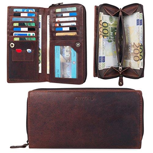 STILORD 'Dana' Portamonete da donna pelle vintage portadocumenti grande borsa portafoglio classico étui borsellino per monete carte banconote documento d'identità, Colore:nero cognac marrone scuro