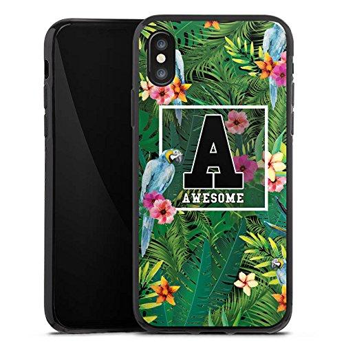Apple iPhone X Silikon Hülle Case Schutzhülle Awesome College Blumen Silikon Case schwarz
