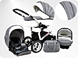 Lux4Kids BIANCinO Kinderwagen Komplettset  03 Eco Leather White & Vichy Karo Platin