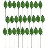 Evisha 50 Pcs Green 2D Velvet Touch Artificial Leaf Art and Craft, Gift Decoration, School Projects