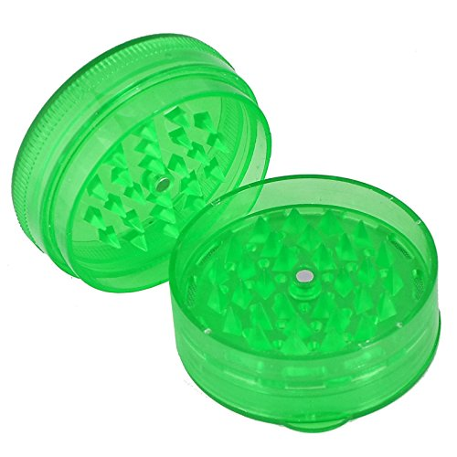 Tabak Kräuter Mühle aus Kunststoff Magnetverschluss Shark Zähne Crusher Cutter tragbar Extra Stauraum einfach zu verwenden 4Farben grün (Tragbare Mühle)