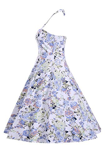 URqueen Women's Flower Printed Vintage Halter Flare Backless Dress Style 1