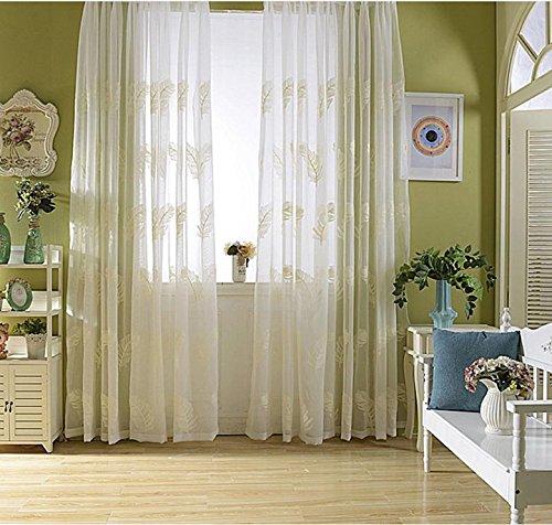 bestickt Sheer Vorhang Tuch für Schlafzimmer Wohnzimmer Küche Gardinen 200cmx270cm (80x 274cm)-1Stück, 2, 1*?300*270cm? (Schlüsselloch-center)