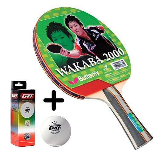 Butterfly Wakaba 2000 Table Tennis Combo (Butterfly Wakaba 2000 Table Tennis Bat + GKI Premium 3 Star 40 Table Tennis Ball, Box of 3 - White)  available at amazon for Rs.1669