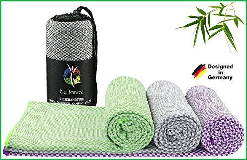 be fancy! ♻ Bambus Reisehandtuch - ultraleicht, extrem saugfähig, antibakteriell & schnelltrocknend - besser als herkömmliche Mikrofaser - Handtuch ideal für Sport, Wandern, Camping, Sauna & Baden (lila, 80 x 160 cm) (Frottee-strand-tasche)