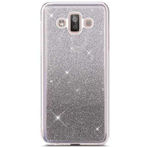 Hpory Kompatibel mit Galaxy J7 Duo 2018 Hülle, Handyhülle Samsung Galaxy J7 Duo 2018 Glitzer Muster Weiche Silikon Durchsichtig Rückseite Case Tasche Schutzhülle + 1 x Hpory Stylus - Silber Grau -