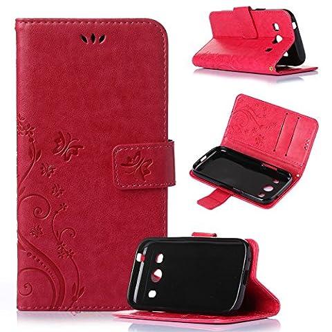 Beiuns Étui en Simili cuir pour Samsung SM-G357FZ Galaxy Ace 4 4G/LTE (Ecran: 4,3 pouces) Housse Coque - R155 rouge