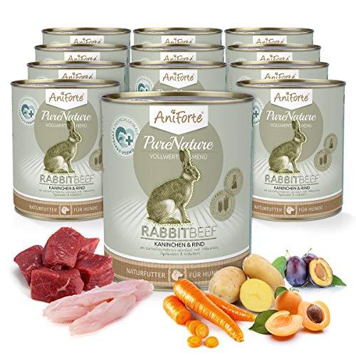 AniForte Natürliches Nassfutter Rabbit-Beef für Hunde, Kaninchen und Rind, getreidefrei, glutenfrei, Futter mit 85{17d99a91f783c9bf699abc9909edfcddd743f758e5a8a33485864e3c5cacee5f} Fleisch, Hundefutter für alle Hunderassen, Ohne künstliche Zusätze (12 x 800g)