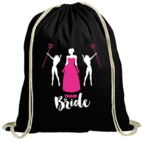 Junggesellenabschieds JGA Hochzeit natur Turnbeutel mit Devil Team Bride Motiv schwarz natur