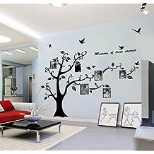 Decalcomania della parete wallstickersdecal PVC Nero enorme cornici memoria albero vite Branch rimovibile 200 cm (B) (propriamente)