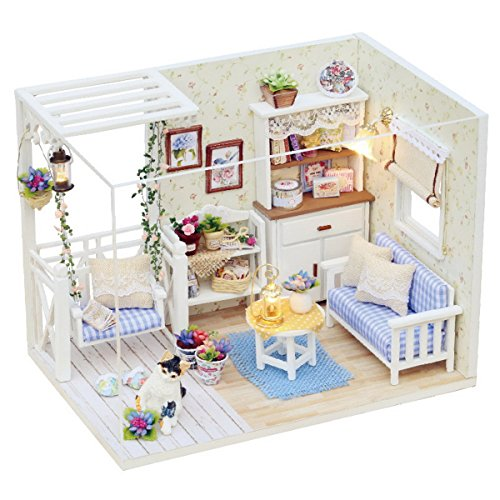 DIY Maison de Poupée en Bois avec Meubles Dollhouse Miniature Jouet pour Enfant