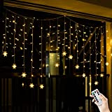 BLOOMWIN 2*1M Warmweiß Schneeflocken Lichtervorhang 8 Modi, 104 LED 220V IP44 Curtain Light Weihnachtsbeleuchtung für Balkon, Fenster, Schaufenster, Wand, Hochzeit, Party, Weihnachten