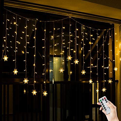 fenster beleuchtung BLOOMWIN 2*1M Warmweiß Schneeflocken Lichtervorhang 8 Modi, 104 LED 220V IP44 Curtain Light Weihnachtsbeleuchtung für Balkon, Fenster, Schaufenster, Wand, Hochzeit, Party, Weihnachten
