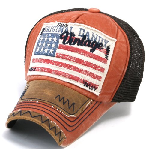 a9012d65cd9 Ililily Distressed Vintage Patch Pre Curved Cotton Baseball Mesh Cap With Adjustable  Strap Snapback Trucker Hat 526 4