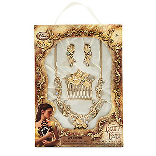 Offizielle Disney Beauty & The Beast Belle Gold Modeschmuck-Accessoire-Set