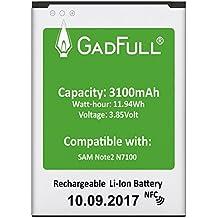 GadFull® Akku für Samsung Galaxy Note 2   2017 Baujahr   Entspricht dem Original EB595675LU  Lithium-Ionen-Akku der Modelle GT-N7100   GT-N7105  Ersatz Handy-Akku für Ihr Smartphone   Perfekt als Ersatz-Akku