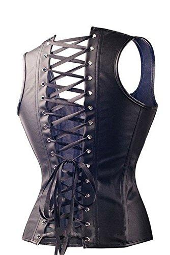 Andalous Dessous Korsett mit Schnallen in schwarz aus Kunstleder mit Schnürung Corsage mit String Schwarz
