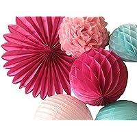 SUNBEAUTY Paquete de 7 piezas Pom Pom flor de papel & Abanico& Bola alveolar& Farol decoración colgando para boda cumpleaños Santa semana fiesta Baby shower