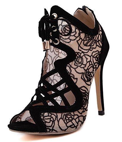 283f20ccb946ae Aisun Damen Peep Toe Hohle Spitze Blumen Schnür Schuhe Schnürsenkel Sandalen  Stiefeletten Beige