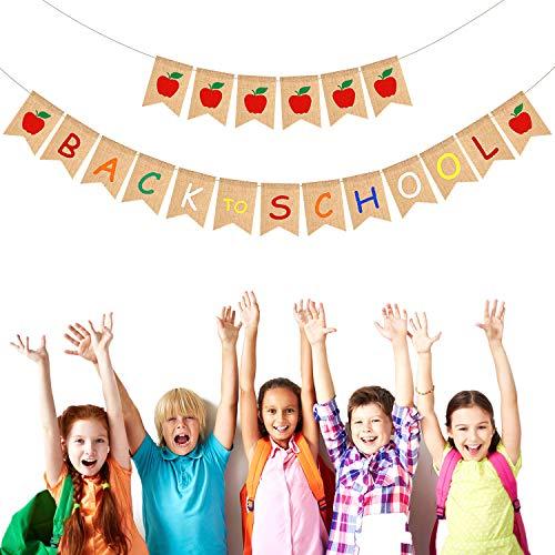 leinen Willkommen Banner Apfel Banner Fahnentuch Zeichen Zurück zur Schule Banner für Klassenzimmer Dekor Lehrer Geschenke Apfel Thema Party Dekorationen (Zurück zur Schule Banner) ()