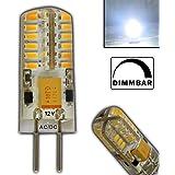 G4 LED 3 Watt 48 SMDs KALTWEIß Dimmbar 12V~ AC/DC Wechselspannung mit 48x 3014 SMDs (Epistar) 250 Lumen ~ 15W 330° Stiftsockel Leuchtmittel Lampensockel Spot Halogenersatz Halogen Lampe