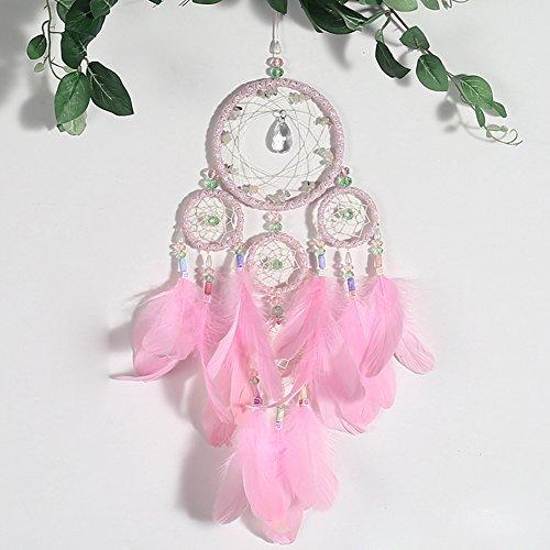 stall, bunten Perlen & Feder handgefertigt traditionellen Dreamcatcher für Mädchen Zimmer Valentinstag Geschenk Baby Dusche Party Dekoration Muttertag - rosa ()