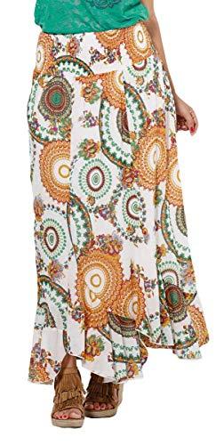 Falda Larga con Mandalas de Colores, algodón. (Blanco, Talla única)
