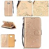 BoxTii Galaxy S6 Edge Plus Hülle [mit Frei Panzerglas Displayschutzfolie], Bling Glitter Schutzhülle, Ledertasche Handyhülle mit Kartenfächern für Samsung Galaxy S6 Edge Plus (#6 Champagne Gold)