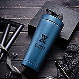 PLC020 Shaker pour boisson protéinée en acier inoxydable 700 ml avec boule, double wall-Blau, 700 ml