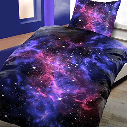 2-Teilige Bettwäsche Set Bettbezug Decke 135x200cm Kissenbezug 80x80cm NEU Lila Blau Stars All Universum Galaxy