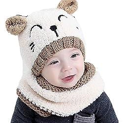 Luoistu Baby Wintermütze Winterschal Beanie Kinder mütze Strickmütze Süß Warmen Kaschmir Mütze Schal set für jungen mädchen 6-36 Monaten(Weiß)