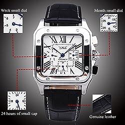 YISUYA Men's Date Week Waterproof Automatic Mechanical Watches Roman Number 24 Hours Rectangle Dial Black Genuine Leather Bracelet & Gift Box Jaragar