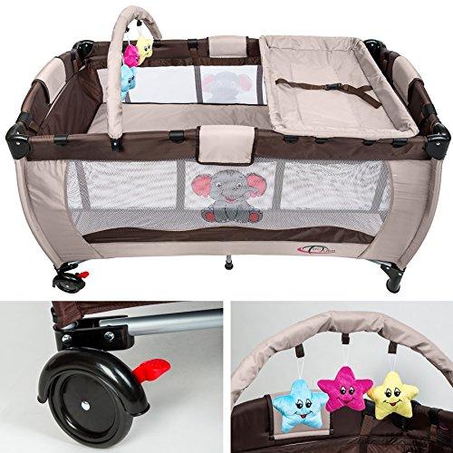 Imagen principal de TecTake Cuna infantil de viaje de altura ajustable con acolchado para bebé café