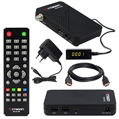 HB-DIGITAL Mini SAT-Receiver Octagon SX8 HD ONE + HDMI Kabel (DVB-S/S2 Satelliten-Receiver IPTV 2X USB 2.0, Conax Kartenleser, HDMI, Externer Display und IR Empfänger, 1080p Mediaplayer Full HD 12V)