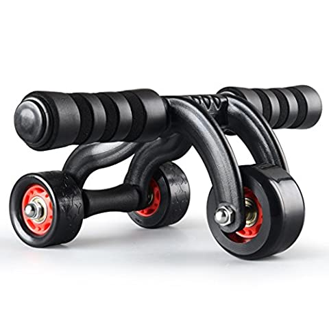 NuoYo Fitness Training Ab Roller Suitable 500 KG Max Load 3 Wheels with Brake Plate Kneeling Pad AB Wheel Gym Tool For Home Gym Abdominal Mute Black