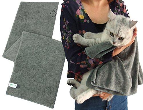 ForNeat Pet Handtuch - ultra saugfähiges Mikrofaser Hundetrockentuch Badetuch für Hunde und Katzen - Dries Ihr Haustier Schneller! (40cm X 100cm, Grau)