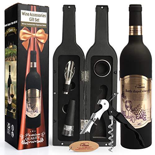 Yobansa Weinflasche geformt Weinzubehör Geschenkset, Weinöffner Set Beinhaltet Weinkorkenzieher, Weinverschlüsse, Weinausgießer (Bottle 02)