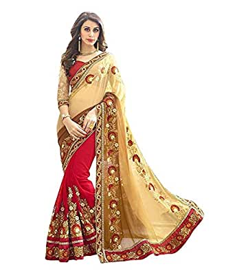 Saree Center Women's Georgette Saree with Blouse Material (Heavy-Patli, Beige, Free Size)
