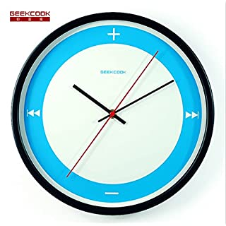 ZYPMM 2017 Creative Metal Wall Clock Modern Home Simple Fashion Wall Clock Feuchtigkeit Anti-Korrosion-Multi-Color ( Color : Blue dial black frame )