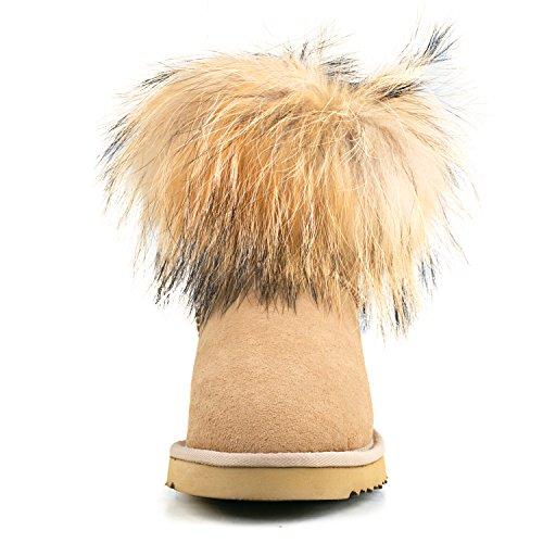 Shenduo - Bottes de neige femme, Boots fourrées de mouton doublure chaude en laine D8751 Gris