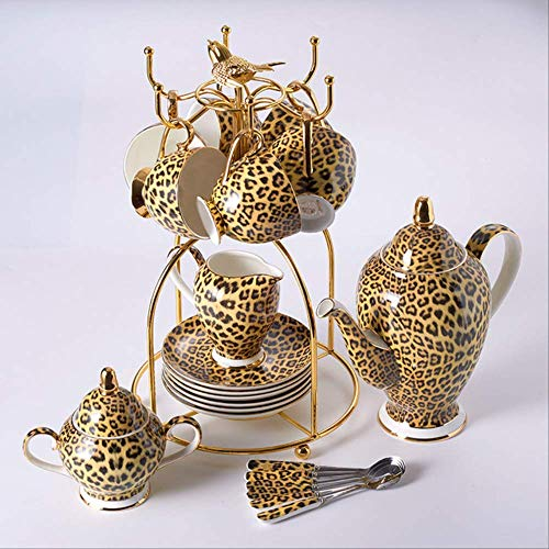 QYYDMKB Leopardenmuster Bone China Kaffee Set Porzellan Tee Set Erweiterte Topf Tasse Keramik Becher Zuckerdose Creamer Teekanne Drink 16 STÜCKE Set China Creamer