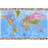 World Map With Flags Educational Maxi Poster Print - 61x91 cm