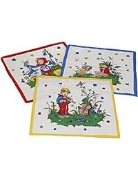 12 Stück Kinder Stoff Taschentücher Kindertaschentücher Set Größe 26x26 cm 100% Baumwolle Märchen Motive Design 5