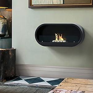 Imagin IMBF21B Wall Mounted Bioethanol Fireplace - Black