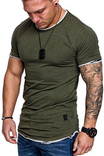 Amaci&Sons Oversize Herren Vintage T-Shirt Zerfranst Crew Neck Rundhals Basic Shirt 6001